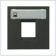Накладка 1-я тел, комп розетки Антрацит ABB Zenit - N2218.1 AN