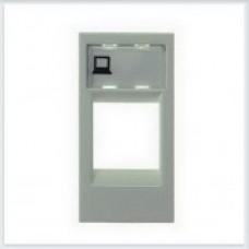 Накладка телеф/комп розетки ABB Zenit серебро - N2118.1 PL