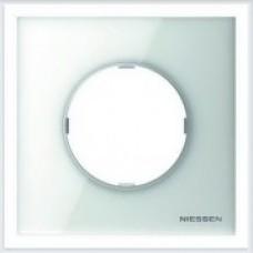 ABB Niessen Рамка 1-постовая серия SKY Moon цвет стекло белое - 8671 CB