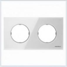 ABB Niessen Рамка 2-постовая серия SKY Moon цвет стекло белое - 8672 CB