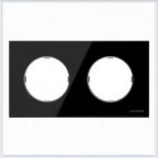 ABB Niessen Рамка 2-постовая серия SKY Moon цвет стекло чёрное - 8672 CN