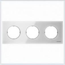 ABB Niessen Рамка 3-постовая серия SKY Moon цвет стекло белое - 8673 CB