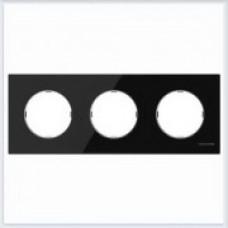 ABB Niessen Рамка 3-постовая серия SKY Moon цвет стекло чёрное - 8673 CN