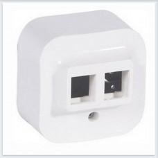 Адаптер для 1 или 2 роз. RJ45 Keystone цвет белый Legrand Quteo Арт. 782226