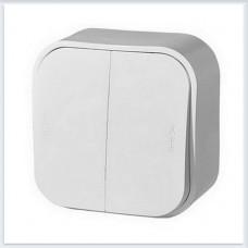 Выключатель 2-клавишный 10А цвет белый Legrand Quteo Арт. 782202
