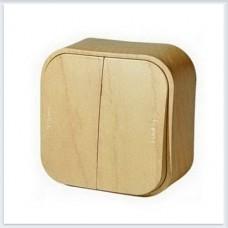 Выключатель 2-клавишный 10А цвет сосна Legrand Quteo Арт. 782262