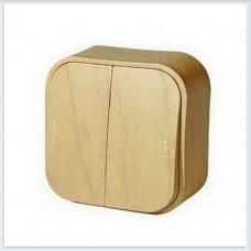 Переключатель 2-клавишный 10А цвет сосна Legrand Quteo Арт. 782266