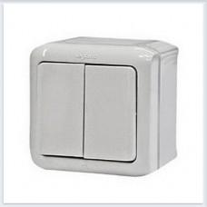 Переключатель 2-клавишный IP44 10А цвет белый Legrand Quteo Арт. 782301