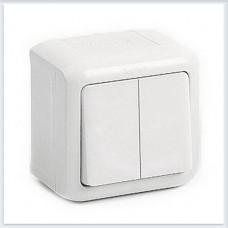 Выключат 2-клавишный IP44 10А цвет белый Legrand Quteo Арт. 782302