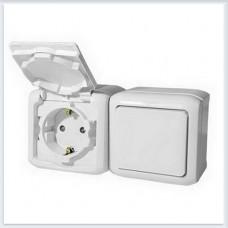 Блок Выключатель 1-кл+роз с/з с шт IP44 цвет белый Legrand Quteo Арт. 782318