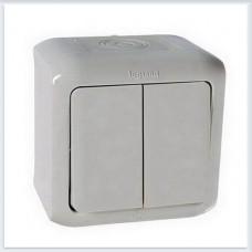 Переключатель 2-клавишный IP44 10А цвет серый Legrand Quteo Арт. 782331