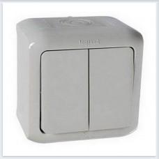 Выключатель 2-клавишный IP44 10А цвет серый Legrand Quteo Арт. 782332