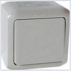 Переключатель 1-клавишный IP44 10А цвет серый Legrand Quteo Арт. 782334