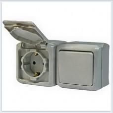 Блок Выключатель 1-кл+роз с/з с шт IP44 цвет серый Legrand Quteo Арт. 782348