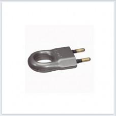Элиум Алюминий Вилка 2Р, 6А, пластик - с кольцом Legrand Арт. 50165