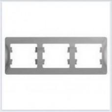 Рамка 3-я, горизонтальная Glossa Алюминий GSL000303