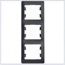 Рамка 3-я, вертикальная Glossa Антрацит GSL000707