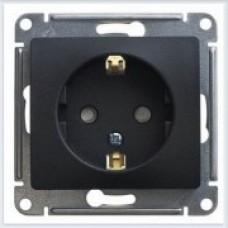 Розетка с заземлением со шторками, 16А Glossa Антрацит GSL000745