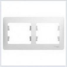Рамка 2-я, горизонтальная Glossa Белый GSL000102