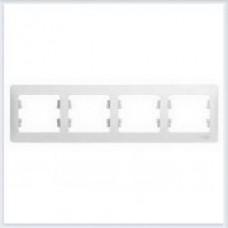 Рамка 4-я, горизонтальная Glossa Белый GSL000104
