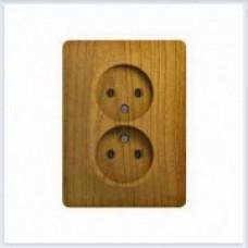 Розетка 2-я без заземления (в сборе с рамкой) Дерево Дуб GSL000520