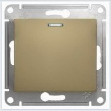 Выключатель 1-клавишный с подсветкой, сх.1а Glossa Титан GSL000413