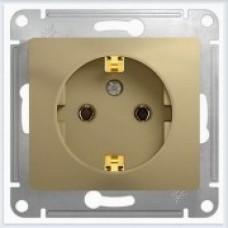 Розетка с заземлением со шторками Glossa Титан GSL000445